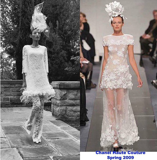 Mẫu váy cưới cách điệu mà Lê Thúy mở màn cho phần cuối của show diễn cũng được so sánh với mẫu váy cưới của Chanel vào năm 2009.