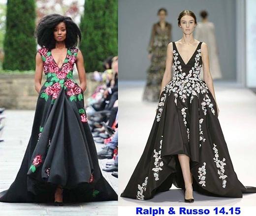 """Mặc dù không giống nhiều về phom váy nhưng cách bố trí họa tiết lại trùng hợp một cách """"ngẫu nhiên"""" với mẫu thiết kế dạ hội trong BST Xuân Hè 2015 của Ralph & Russo."""