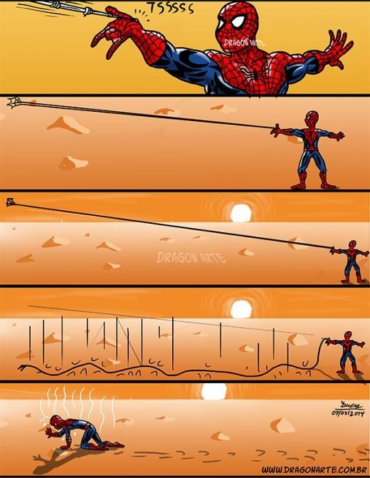 Giữa sa mạc thì Spider man cũng bó tay!