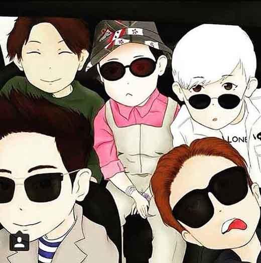 Taeyang thích thú đăng tải hình chibi của Big Bang.
