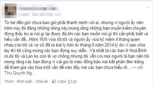 Thậm chí, bạn trai Quỳnh Thư cũng chia sẻ tâm trạng trên trang cá nhân.