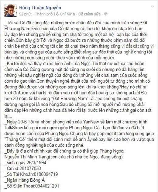 Dòng chia sẻ của Hùng Thuận trên trang cá nhân đã thu hút sự quan tâm của nhiều khán giả. - Tin sao Viet - Tin tuc sao Viet - Scandal sao Viet - Tin tuc cua Sao - Tin cua Sao