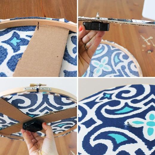 Giờ thì hãy dùng dao rạch một ít vải ở vị trí đã đánh dấu, xuyên qua lớp bìa các-tông và gắn máy đồng hồ vào đấy nhé!