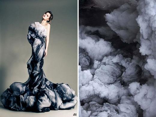 Những đám mây đen, xám trên một thiết kế ấn tượng.