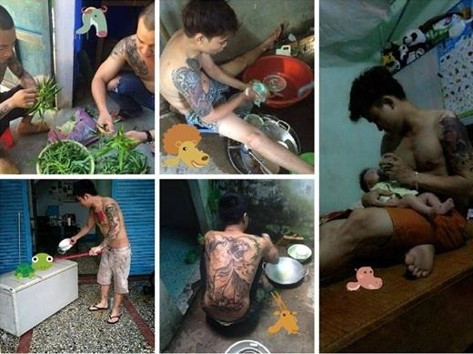 Hình ảnh những nam thanh niên xăm mình đang làm công việc vô cùng bình thường như: nhặt rau, rửa bát, nấu cơm, lau dọn nhà cửa hay thậm chí cho con ăn đã khiến nhiều người có cái nhìn khác hơn về những người xăm mình.
