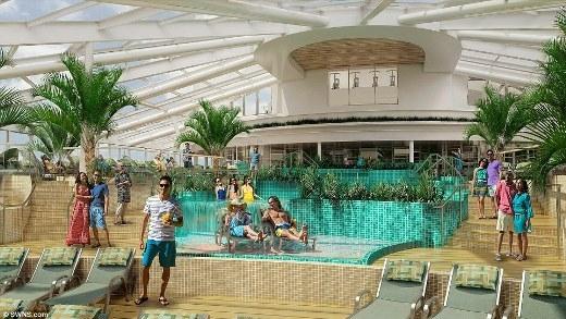 Trong con tàu du lịch lớn thứ ba trên thế giới còn có những khu vực sinh hoạt chung để hành khách có thể thư giãn và tắm nắng.