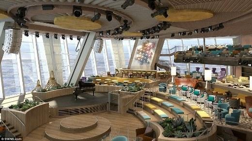 Căn phòng Two70, nơi hành khách có thể thưởng thức bữa tối với hướng nhìn có view 270 độ hướng ra biển.