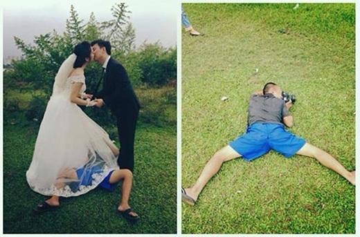 ... đã được thực hiện như thế này. Cần ghi nhận nỗ lực của cô dâu, chú rể khi hôn nhau bất chấp nhân vật thứ 3 đang quá lố kia.
