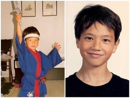 Từ lúc 5 tuổi, Kim Lý đã bộ lộ niềm đam mê võ thuật. Hình bên phải là lúc Kim Lý tròn 10 tuổi. - Tin sao Viet - Tin tuc sao Viet - Scandal sao Viet - Tin tuc cua Sao - Tin cua Sao