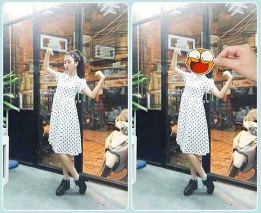 Quỳnh Anh Shyn lại khá điệu đà trong chiếc váy xòe tay phồng với họa tiết chấm bi.