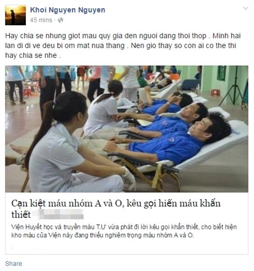 Cộng đồng mạng kêu gọi khẩn thiết cùng nhau đi hiến máu cứu người