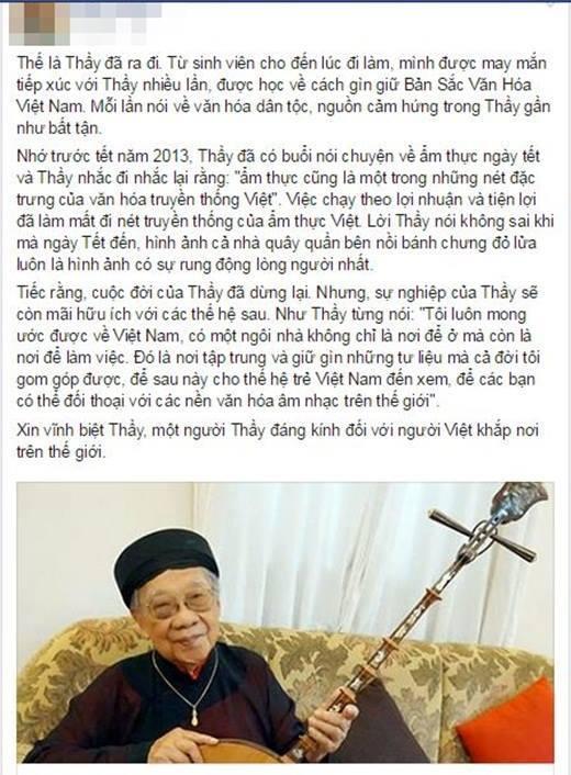 Giới trẻ thương tiếc, vĩnh biệt GS - TS Trần Văn Khê