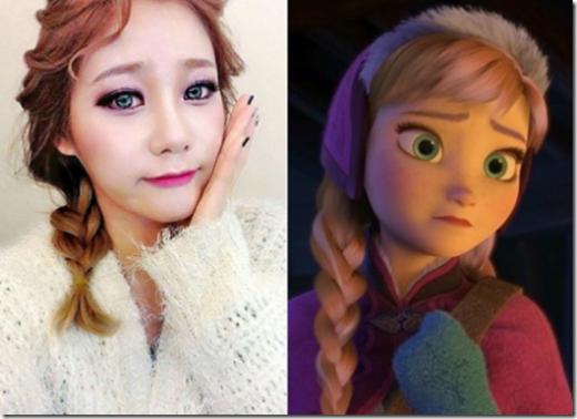 Trong khi đó, cô bạn cùng nhóm, Yuna lại hoàn hảo trong vai Anna nhờ biểu cảm gương mặt cực kỳ giống em gái Elsa trong Frozen.