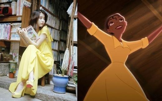 Với chiếc đầm màu vàng trên, nếu như sở hữu thêm làn da rám nắng, chắc hẳn IU sẽ có thể hoàn hảo hóa thân thành nàng công chúa da màu Tiana.