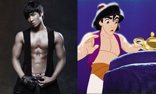 Trang phục của Lee Joon trông khá giống Aladdin, thậm chí cơ bụng sáu múi của nam thần tượng còn quyến rũ hơn cả hoàng tử trong truyện cổ tích.