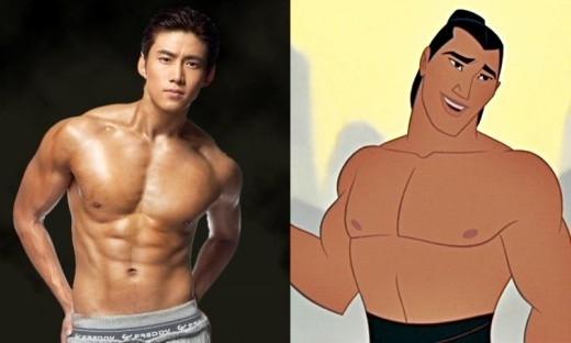 Taecyeon (2PM) sở hữu vẻ ngoài săn chắc, mạnh mẽ như chàng Shang trong Hoa Mộc Lan, thậm chí còn nhỉnh hơn ở khoản nhan sắc.