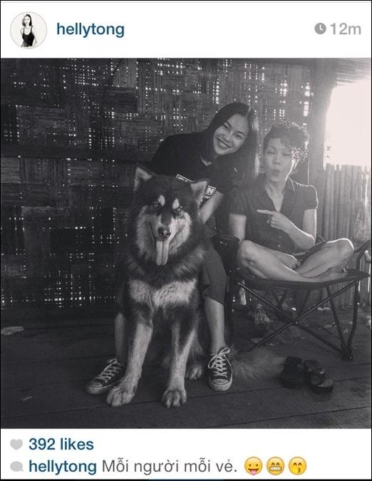 Helly Tống khoe bức ảnh chụp cùng nghệ sĩ Việt Hương bên cạnh chú chó Alaska siêu bự. Cô gái 9x tài năng này không chỉ là người mẫu ảnh, stylist mà còn là bà chủ thành công trong con đường kinh doanh.Helly Tống có thể nói là cô gái thành đạt và đa tài của làng giải trí Việt.