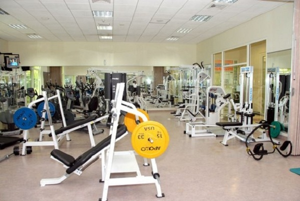 Ở đây còn có phòng tập gym để phục vụ nhu cầu sức khỏe của sinh viên.