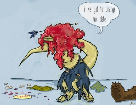 Dù có biến thành khủng long thì công chúa Merida vẫn say mê môn bắn cung.