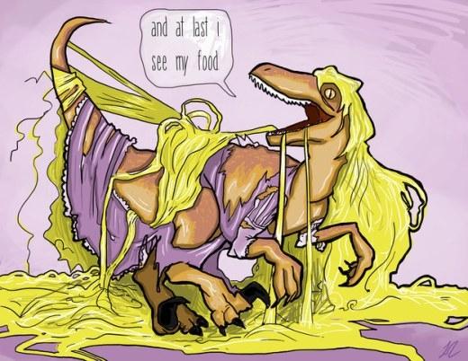 Niềm vui mừng trước nhiều món ăn mới lạ đến với công chúa Rapunzel phiên bản khủng long khi được tiếp xúc với thế giới bên ngoài.