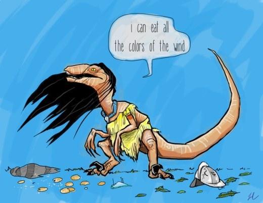 Khủng long Pocahontas ăn không chừa bất cứ cái gì. Kể cả gió.