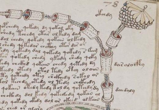 Hình ảnh này được lấy từ một bản thảo y học, là một minh họa mật mã được xác thực từ thời Trung cổ, nhưng không ai có thể giải mã chính xác được nó, kể cả những chuyên gia về mật mã hàng đầu thế giới.