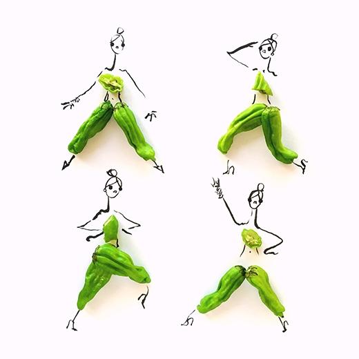 Một trong những phác thảo mới nhất của Grtechen Roehrs được làm bằng ớt xanh tạo nên những chiếc áo tank top phối hợp cùng quần ống suông hay culottes hợp mốt.