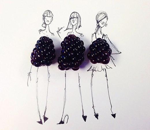 Quả mâm xôi được tạo thành những chiếc váy đơn giản nhưng cực kì ấn tượng.