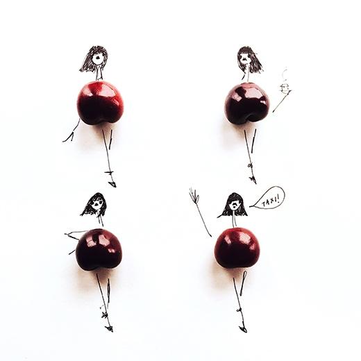 Phom váy bồng xòe cúp ngực như của những cô búp bê barbie được tạo nên chỉ đơn giản từ quả cherry chín mọng.