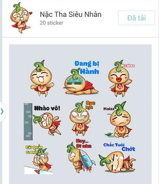 Tải miễn phí những biểu cảm độc lạ của bộ sticker Củ Hành Siêu Nhân (Nặc Tha) trên Zalo
