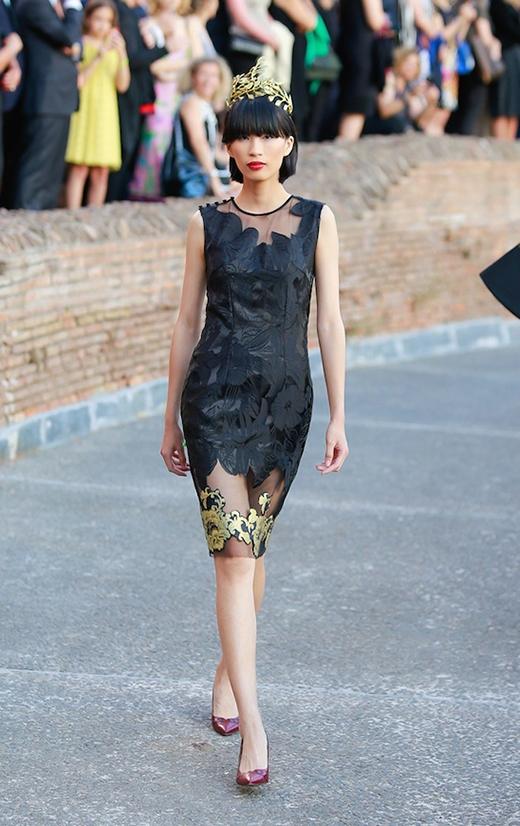 Hoa hậu Thùy Dung diện áo dài cách điệu khoe sắc ở Ý