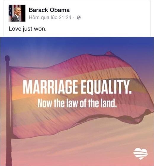 Tổng thống Mỹ, Barack Obama cũng đã chia sẻ hình ảnh với ý nghĩa bình đẳng hôn nhân, ủng hộ hôn nhân đồng giới.