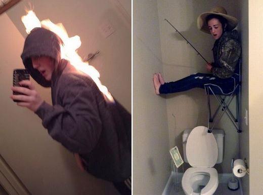 Bên trái là một bức ảnh nóng của chàng trai và bên phải... chắc có lẽ cô gái này nghiện câu cá quá chăng?