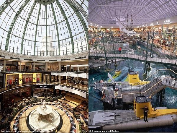 Trần nhà mái vòm lộng lẫy của trung tâm mua sắmMall of the EmiratesởDubaivà khu hải dương học ởWest EdmontonởCanada.