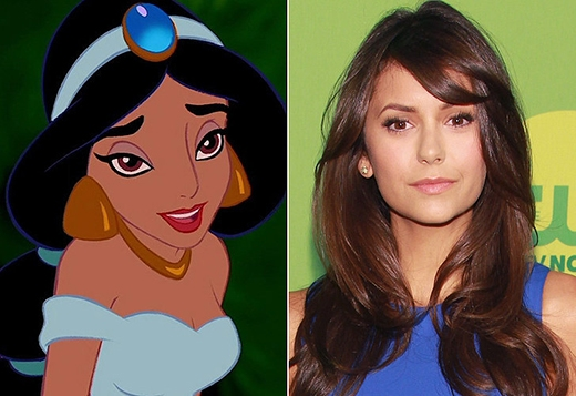 Khó ai có thể giống với nàng công chúa Jasmine hơn nữ diễn viên Nina Dobrev. Từ đôi mắt đến chân mày của Nina đều trùng khớp hoàn hảo với Jasmine.