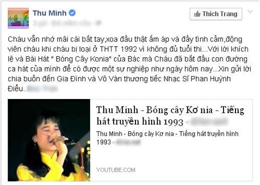 Sau tin tức về sự ra đi của nhạc sĩ Phan Huỳnh Điểu, đã có rất nhiều nghệ sĩ tỏ lòng thành kính và đau buồn trước cái chết của ông. Mới đây, nữ ca sĩ Thu Minh đã bồi hồi nhớ lại kỉ niệm của mình khi được nhạc sĩ bắt tay, xoa đầu đầy tình cảm, và nhờ có lời khích lệ cũng như bài hát Bóng cây Konia của nhạc sĩ Phan Huỳnh Điểu mà Thu Minh mới bắt đầu con đường ca hát để có được sự nghiệp như ngày hôm nay.