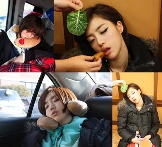 Eunjung (T-ara) cũng nhiều lần bị chụp lại những dáng ngủ khó đỡ.