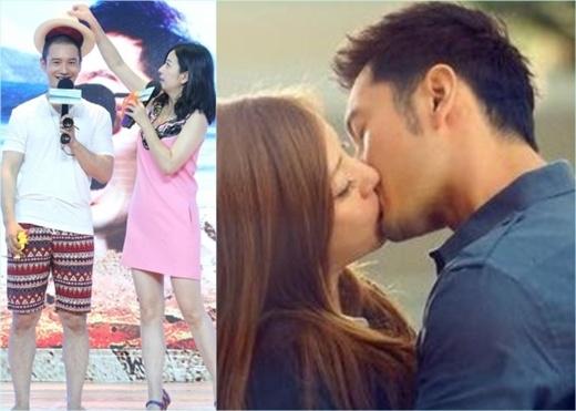 Triệu Vy sưng phồng môi vì hôn Huỳnh Hiểu Minh 60 lần