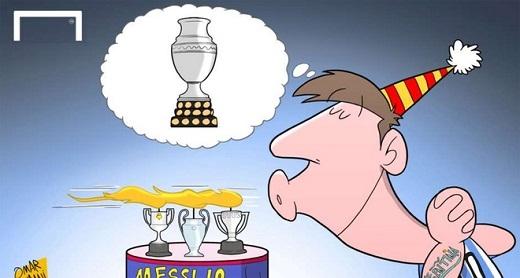 Trong ngày sinh nhật 24/6, Messi có thể mơ đến danh hiệu thứ tư trong năm 2015: Copa America. Tiền đạo này đã có cú ăn ba với Barca trong mùa giải 2014-2015.
