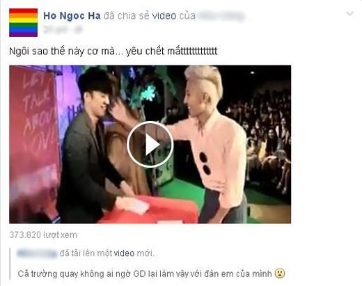 Sau khi xem đoạn clip ghi lại hình ảnh anh chàng trưởng nhóm Big Bang G-Dragon đã đến tham dự buổi kí tặng của cậu em Seungri cùng nhóm, nữ ca sĩ Hồ Ngọc Hà đã phát cuồng vì hành động đáng yêu của G-Dragon.