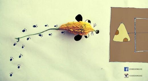 """Chú chuột """"khổ qua"""" được vẽ vô cùng sinh động dưới ngòi bút của Draw 4 Fun."""