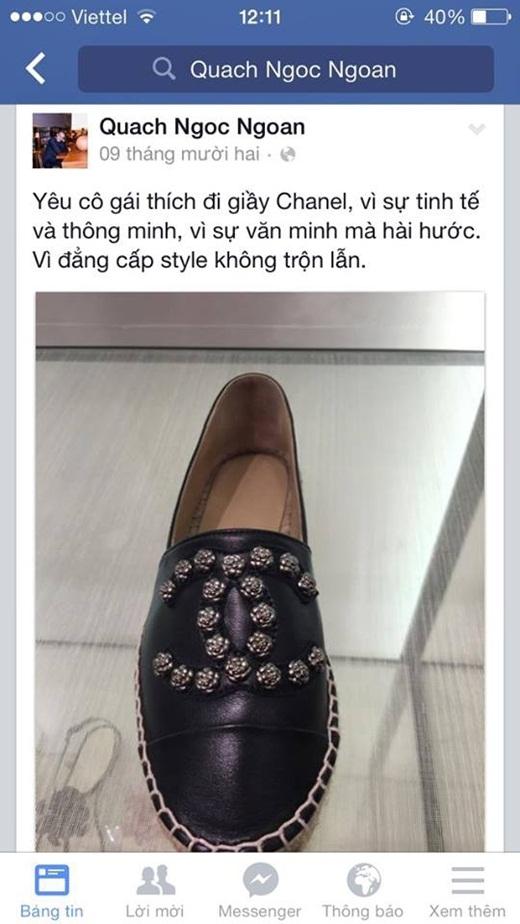 Trước đó Quách Ngọc Ngoan cũng đã có lần nói bóng gió về việc yêu cô gái có sở thích đi giày Chanel. - Tin sao Viet - Tin tuc sao Viet - Scandal sao Viet - Tin tuc cua Sao - Tin cua Sao