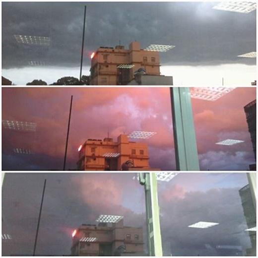 Chỉ sau vài giây nhưng bầu trời đã thay đổi nhanh đến chóng mặt khiến ai cũng đều phải hú hồn pha chút thú vị. (FB Huỳnh Thanh Trâm)