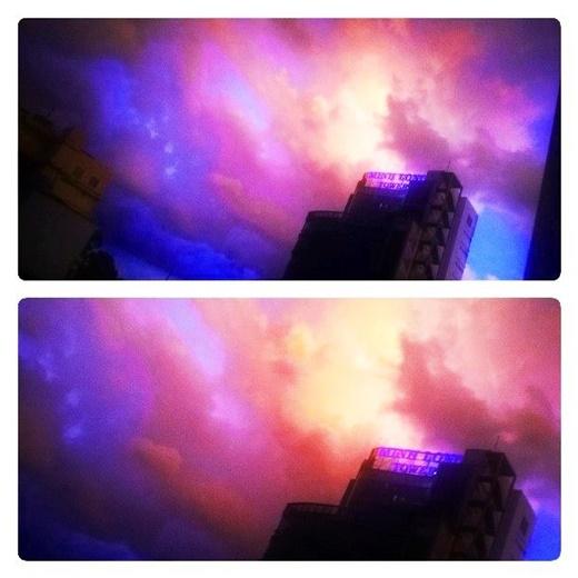 Bầu trời Sài Gòn chiều nay nhìn không khác gì một cây kẹo bông gòn với đủ màu sắc vui nhộn! (FB Kod Kyn)