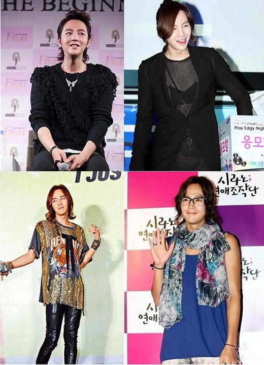 Được mệnh danh là mỹ nam Châu Á, Jang Geun Suk luôn thu hút ánh nhìn người khác khi xuất hiện với phong cách phi giới tính. Bên cạnh diễn xuất, anh còn mê những trang phục áo xuyên thấu, lệch vai và cả...áo ngực. Được biết, không có một món đồ nữ tính nào mà anh chưa thử qua. Và các fan đã bị anh cuốn hút bởi những sở thích kì lạ này.