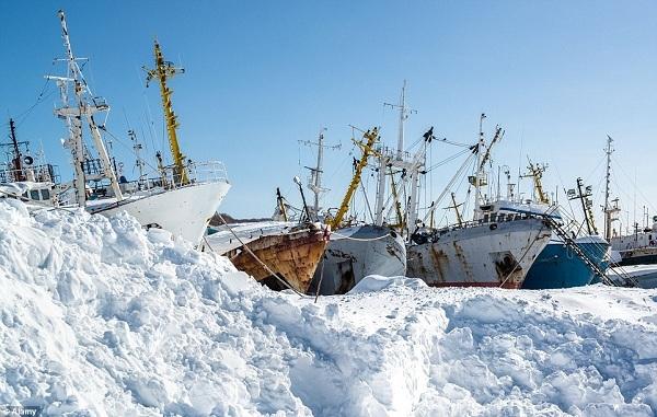 Một xưởng đóng tàu củaNganằm trên một vịnh nhỏ ở phía namPetropavlovsk-Kamchatskylà một cảnh quan bỏ hoang được bao phủ bởi tuyết và băng.