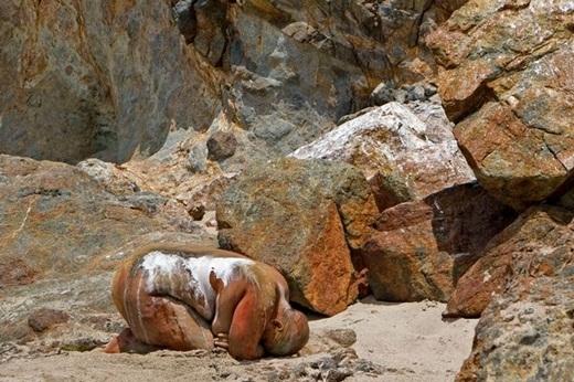 Người mẫu được ngụy trang thành một hòn đá ở bãi biển Point Dune, California, Mỹ.
