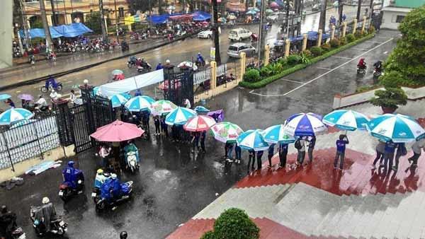 Sinh viên tình nguyện căn dù, bạt để giúp thí sinh không bị mưa ướt tại TP.HCM