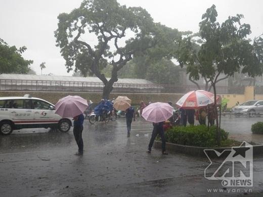 Cầm dù ra tận ngoài đường trong mưa dông để hỗ trợ đưa thí sinh vào phòng thi