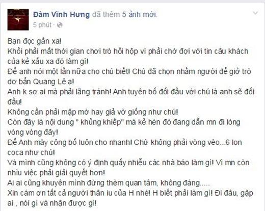 Đàm Vĩnh Hưng đáp trả lời đe dọa của Quang Lê bằng một giọng đanh thép. - Tin sao Viet - Tin tuc sao Viet - Scandal sao Viet - Tin tuc cua Sao - Tin cua Sao
